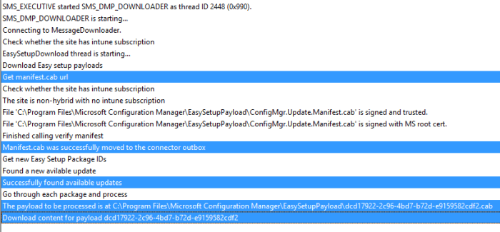 SCCM 2016 TP3 U1509 - DMPDownloader Log - Download Started