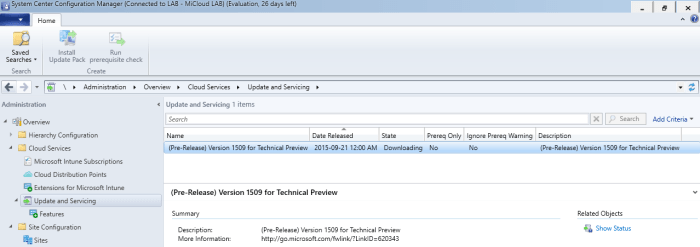 SCCM-2016-TP3-U1509-Downloading Update 1590 for System Center Configuration Manager 2016 Technical Preview 3