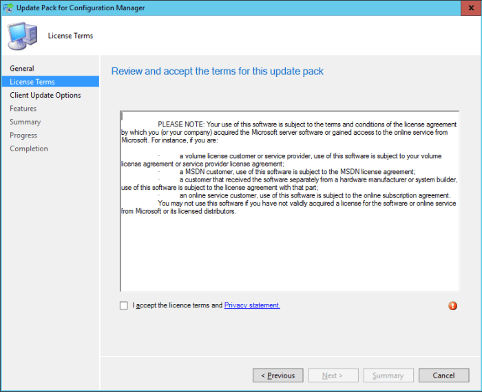SCCM 2016 TP3 U1509 - Update Pack Wizard - License Terms