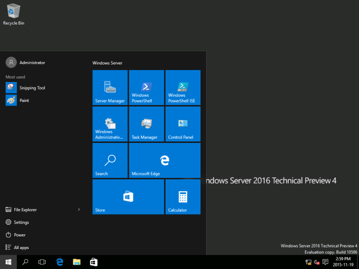 Windows Server 2016 TP4 - Desktop