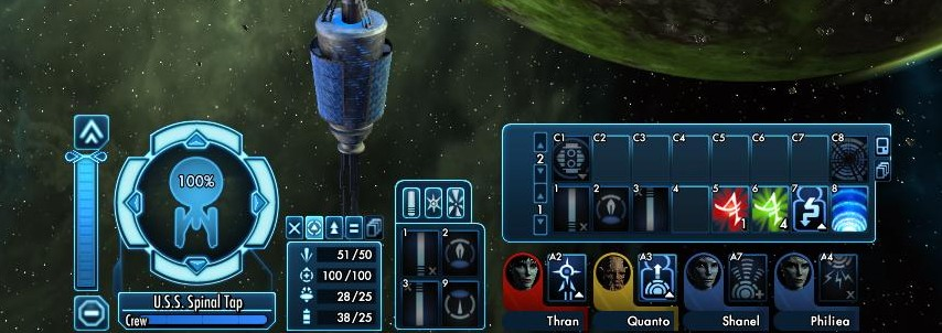 Example of space combat controls