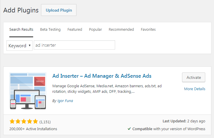 Plugin WordPress AdSense