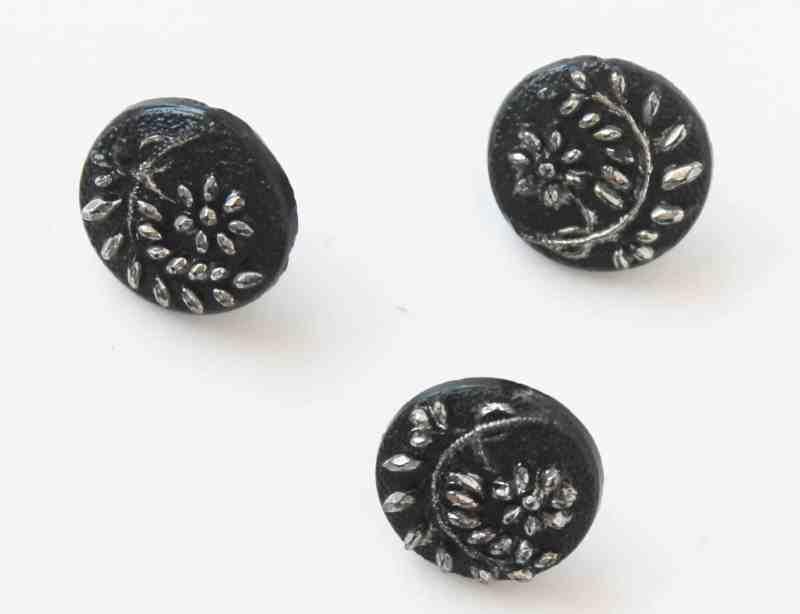 antique floral jet buttons