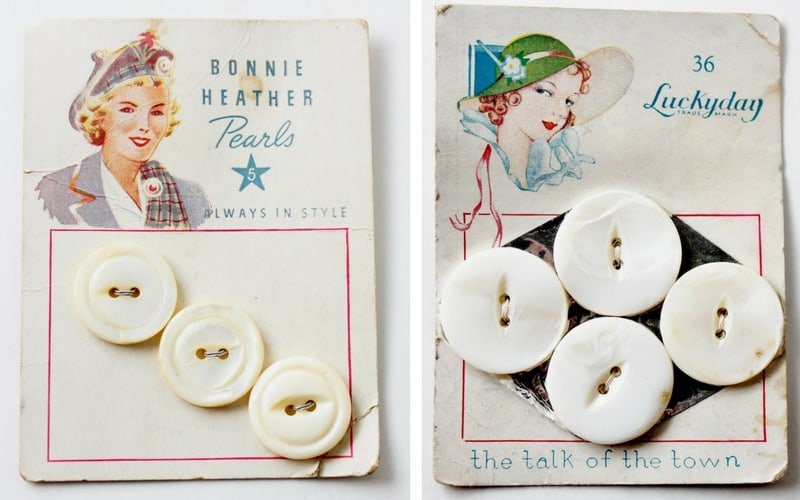 vintage cards of shell buttons