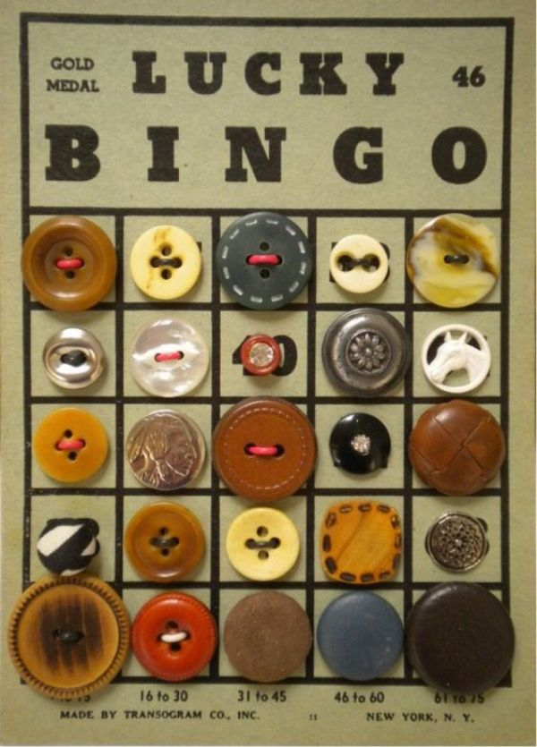 Bingo card with vintage buttons