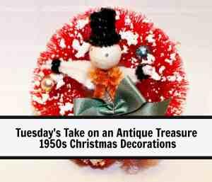 Vintage Christmas decoration bottle brush wreath with snowman