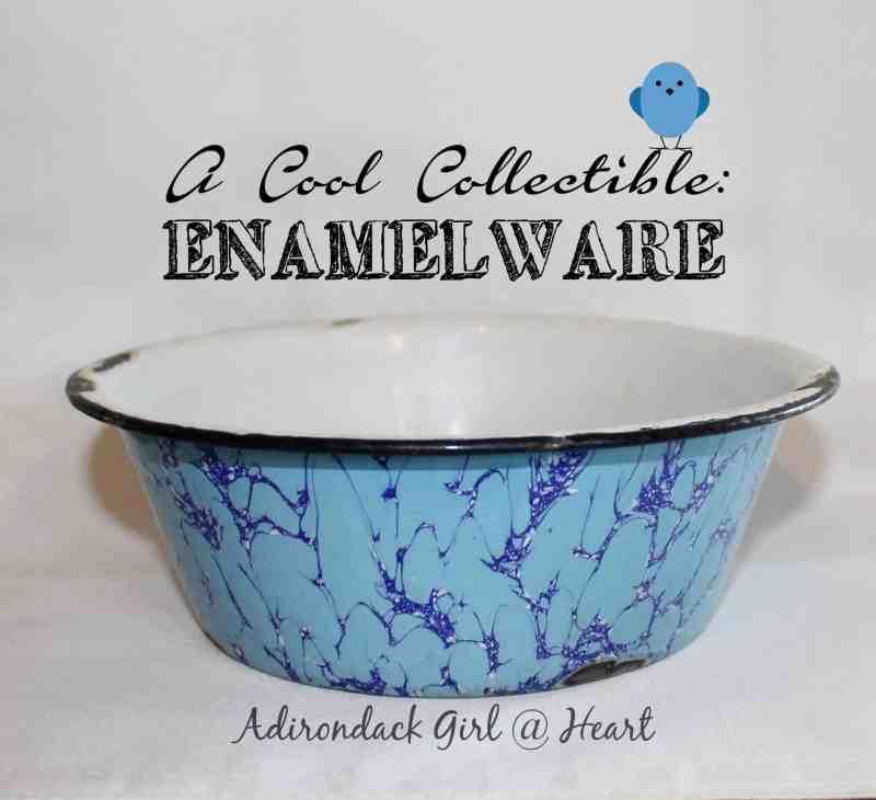 Vintage blue swirl enamelware basin