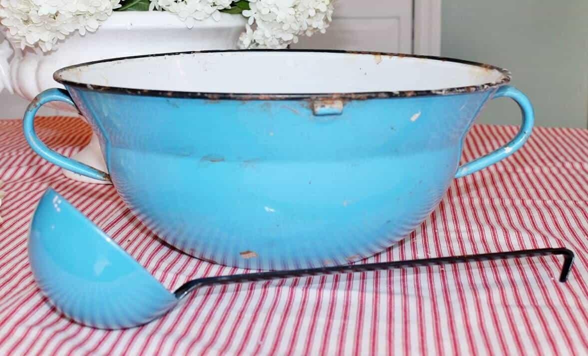 Vintage aqua enamelware bunch bowl and ladle