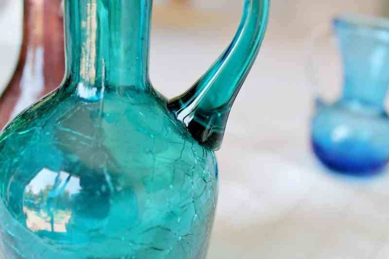 close up of vintage turquoise crackle glass