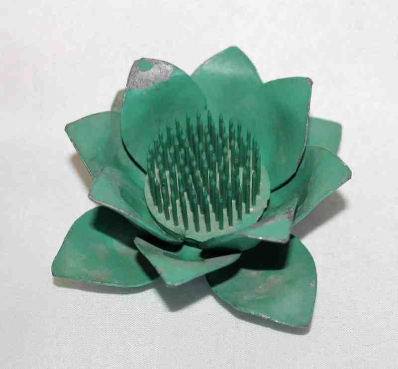 vintage metal lotus shaped flower frog
