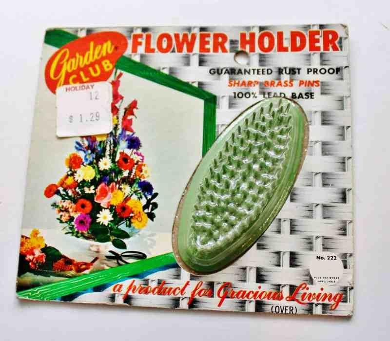 vintage oval flower frog mint in package