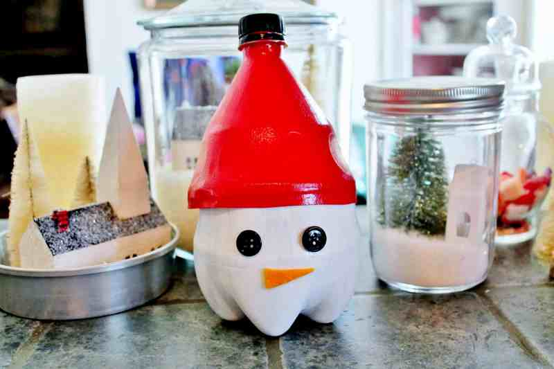 upcycled soda bottle snowmann candy container