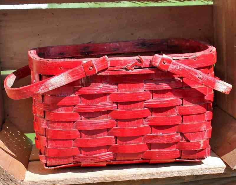 small red painted oak splint basket