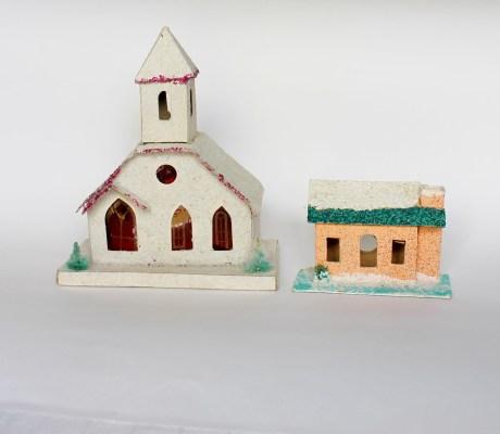 vintage putz christmas buildings