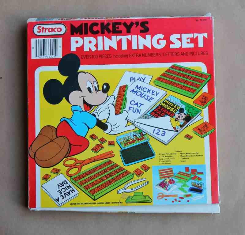 vintage mickey mouse printing set