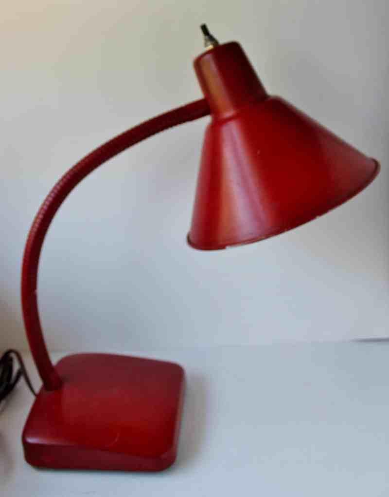 vintage red desk lamp