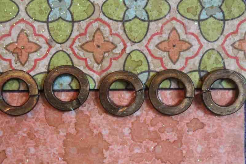 close up of mixed media art project