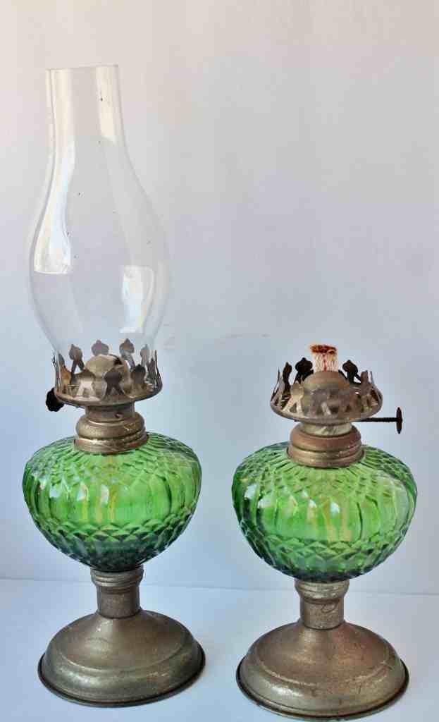 Pair of Vintage green glass hurricane lanterns