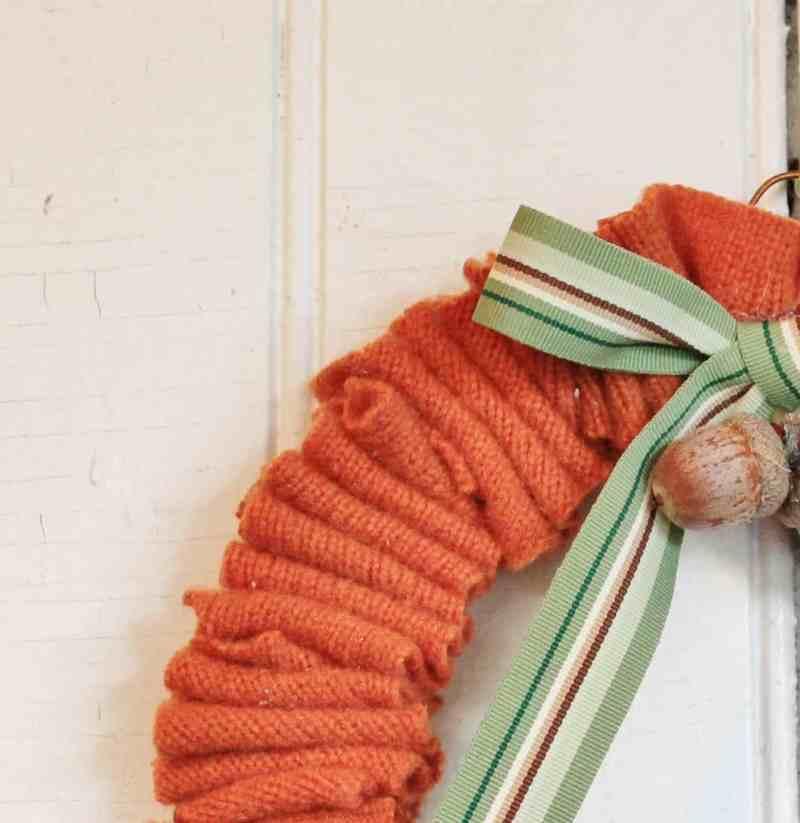 Part of a sweater scrap wreath