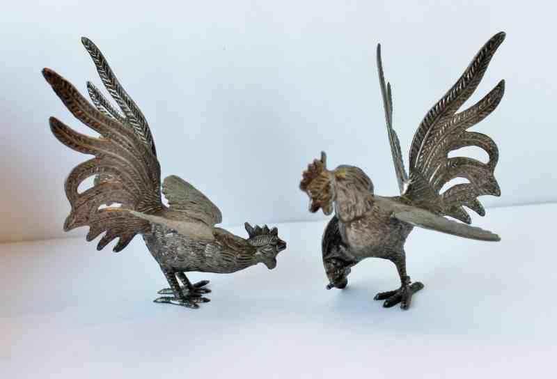 Vintage British pair of roosters