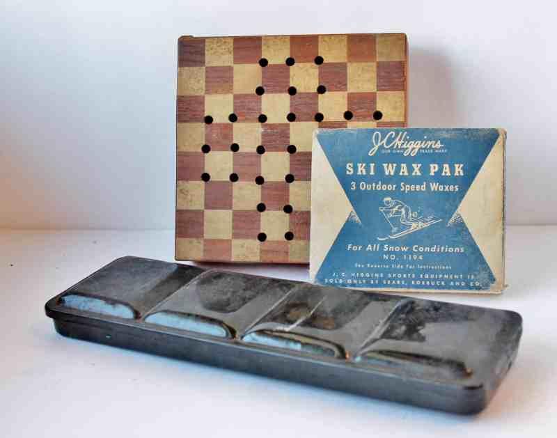 Vintage game, paint set, ski wax