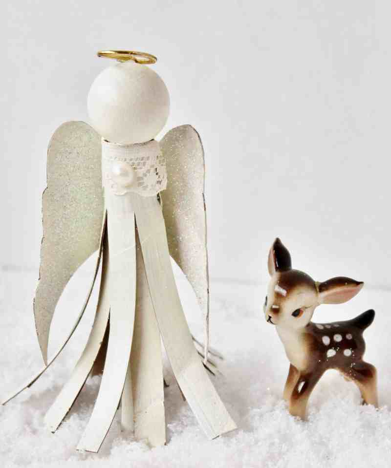 toilet paper tube angel ornament with vintage deer