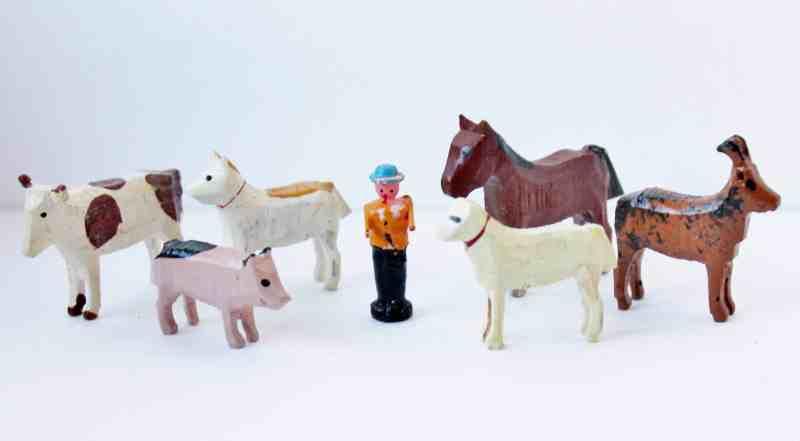 vintage miniature wooden farm animals