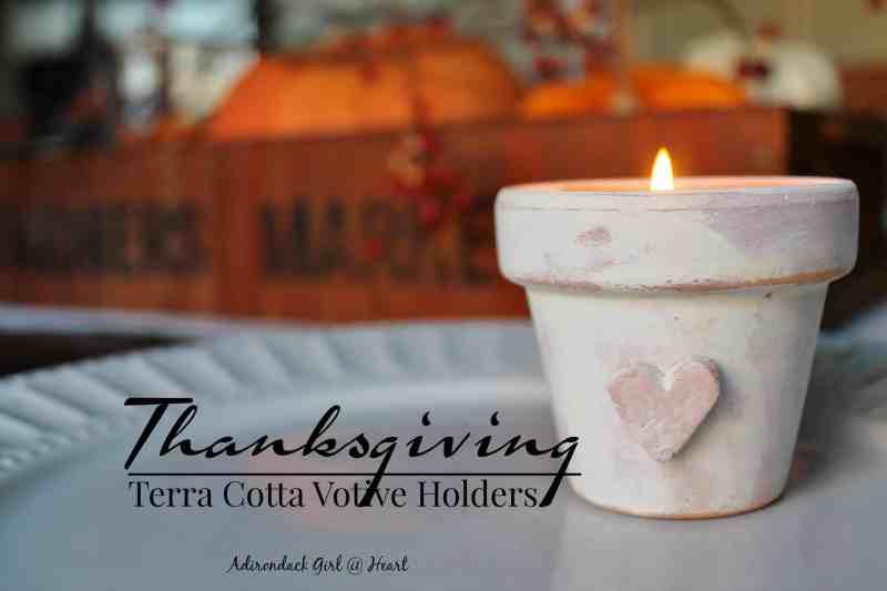 Thanksgiving Terra Cotta Votive Holder at Adirondack Girl @ Heart