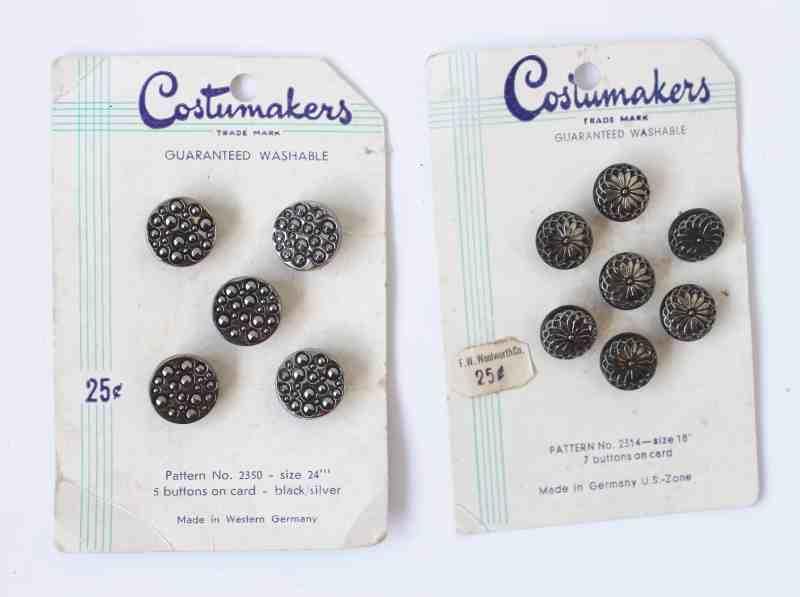 Vintage West German Metal buttons on cards