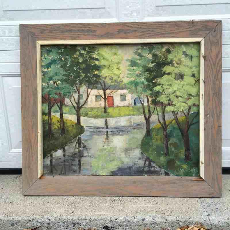Vintage Oil Painting of Cabin Landscape