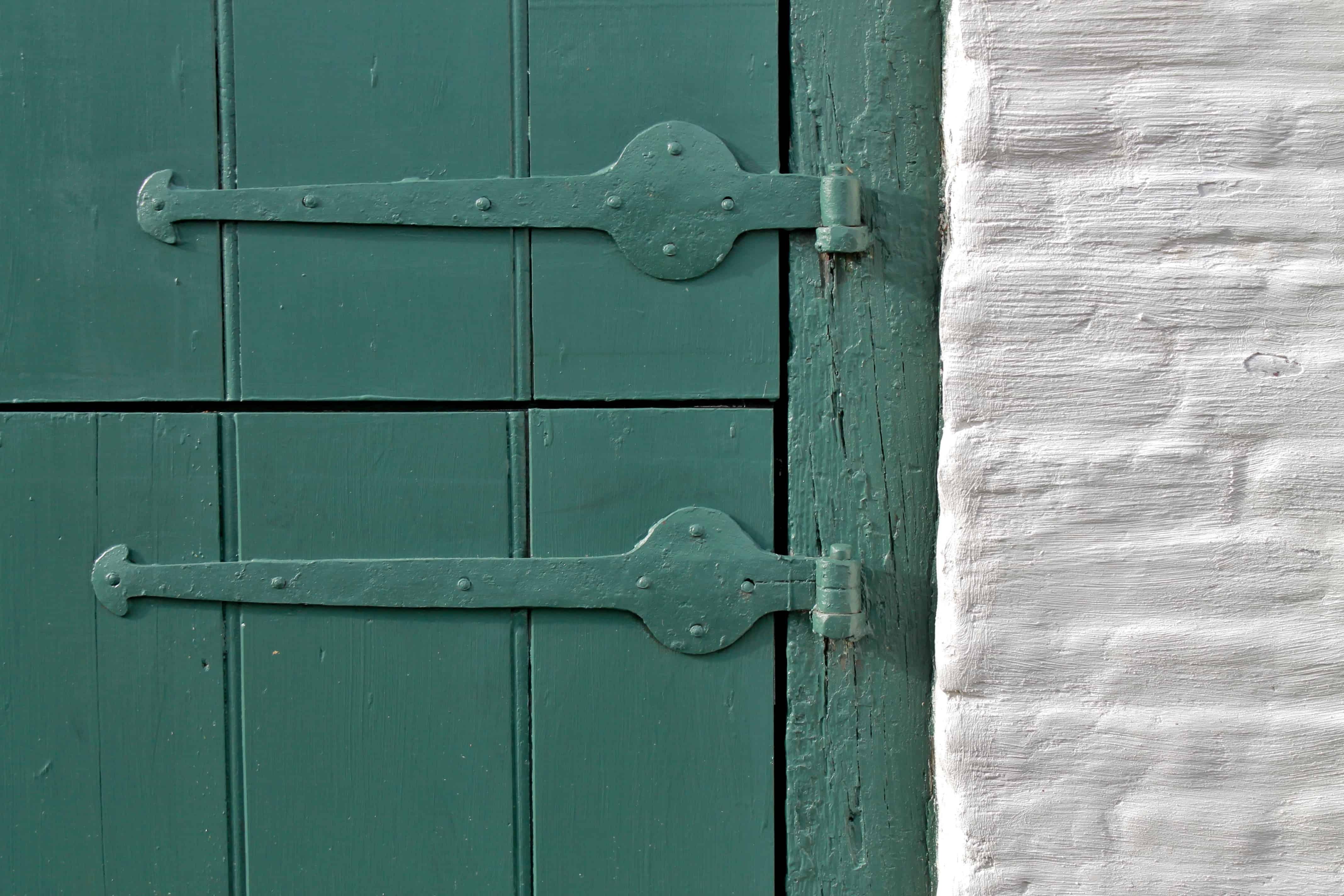 Mabee Farm Green Door, White Brick