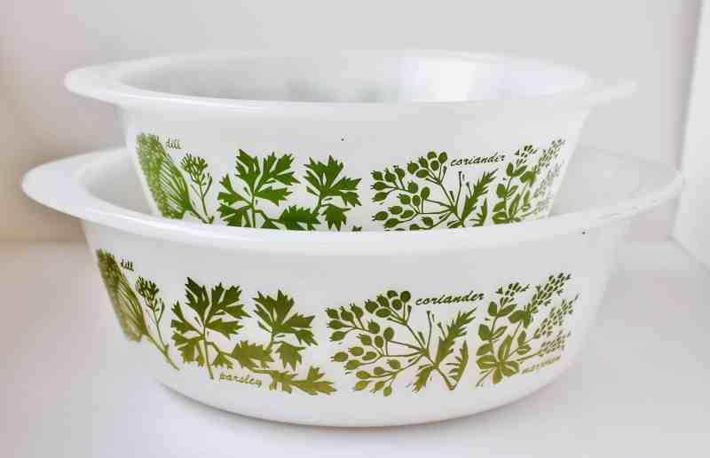 Glasbake Casserole Set Herbal Pattern
