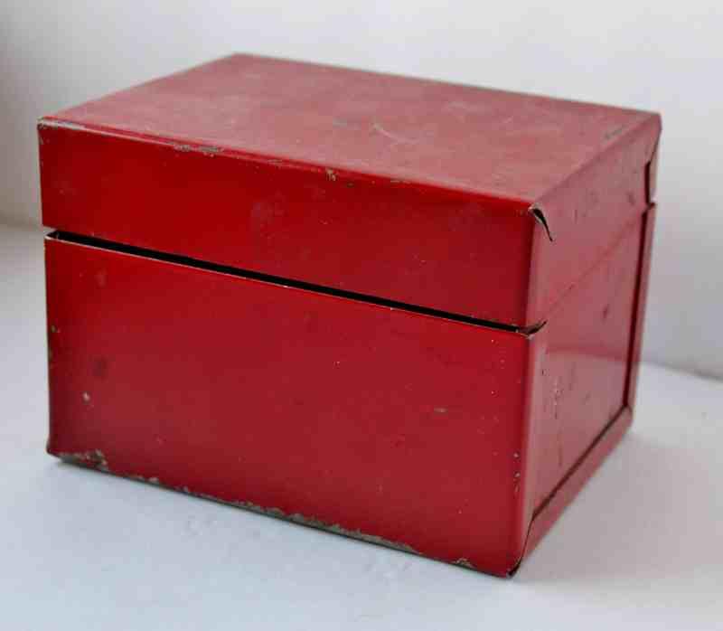 Vintage Red Metal Recipe Box