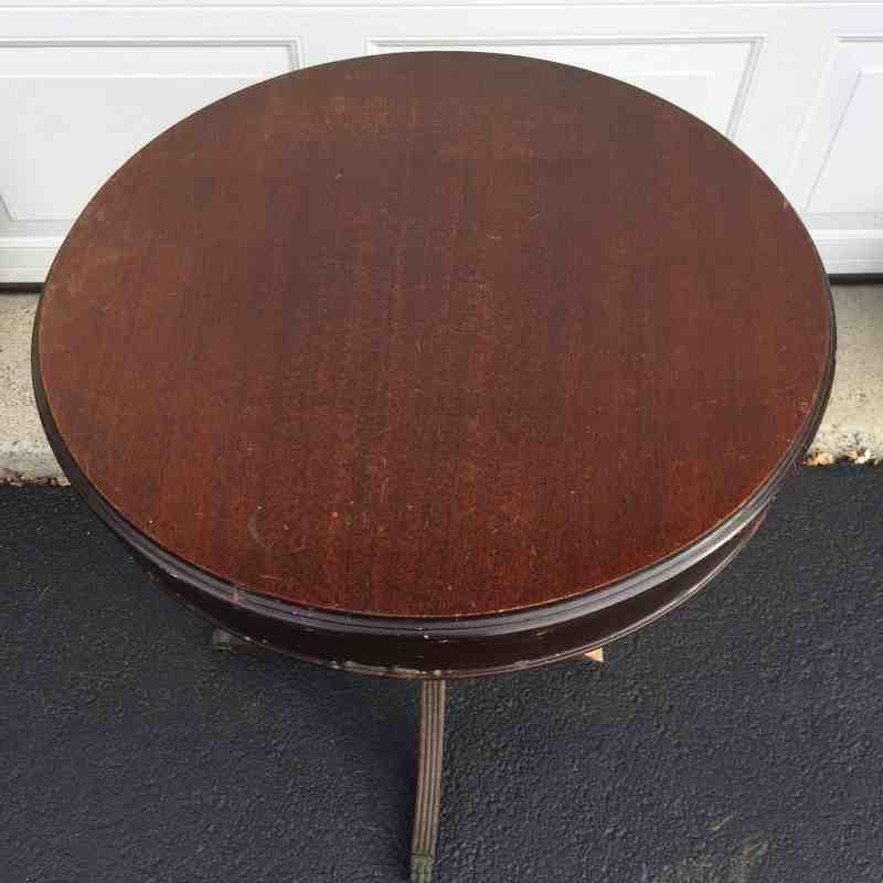 Top of Vintage Drum Table