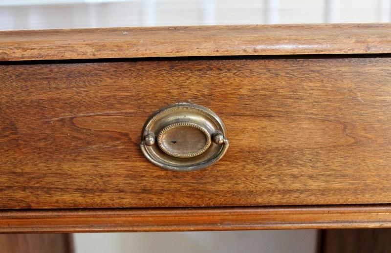 Close up of vintage wooden desk