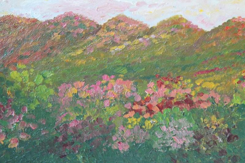 closeup of impressionistic landscape painting