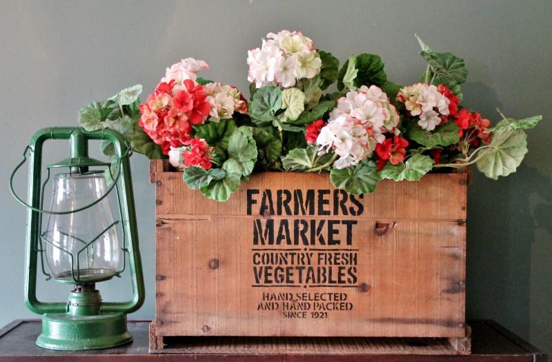 Farmer's Market Vintage Crate with Vintage Lantern