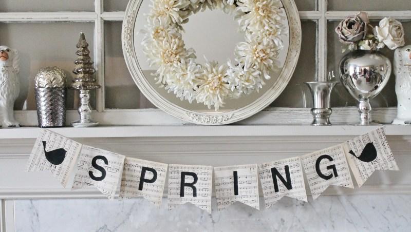 Spring Bunting on Vintage Music Paper (2)