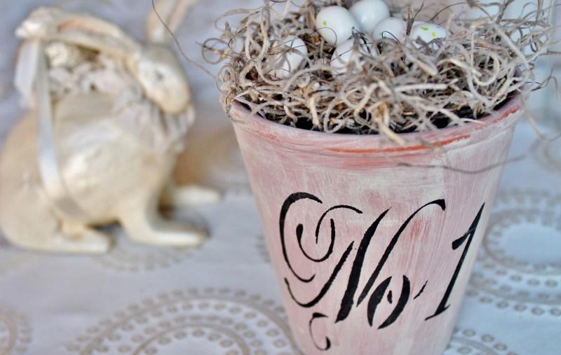 Terra cotta pot turned Easter basket