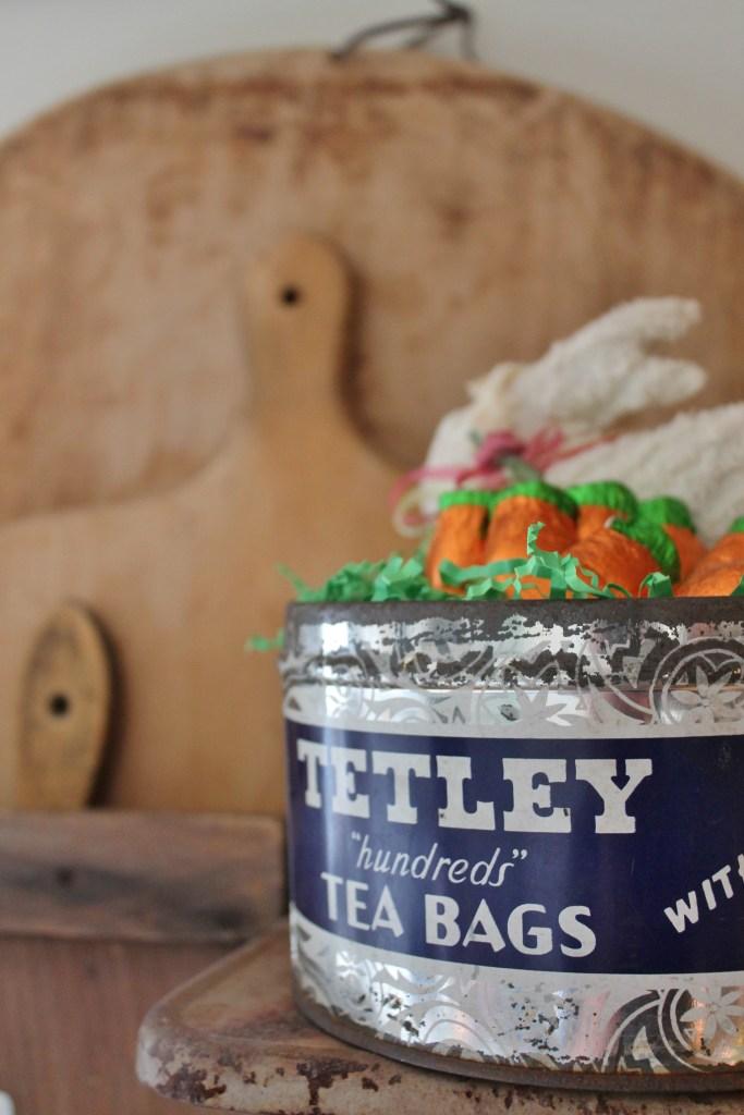 Tetley Tea Tin turned Easter Basket