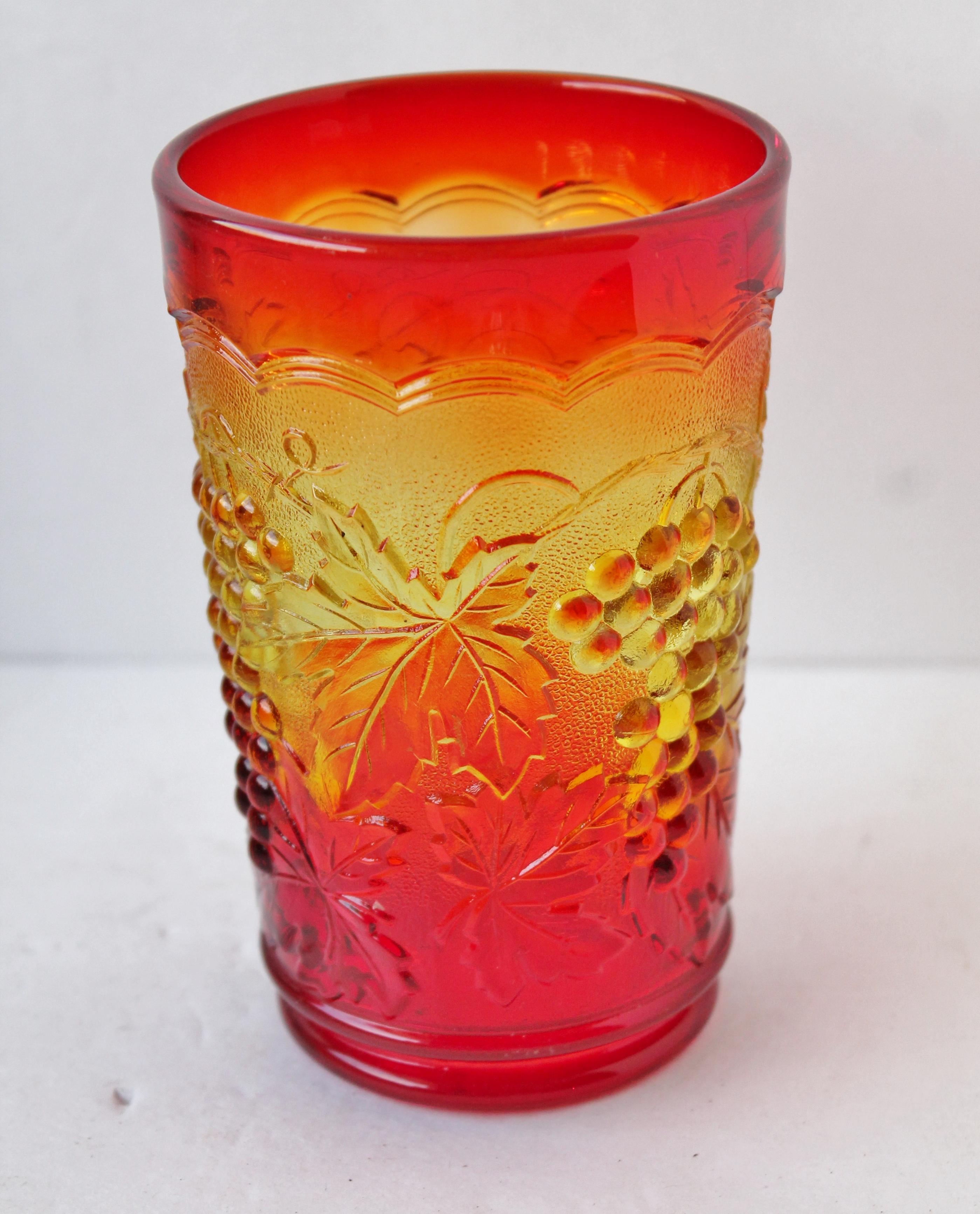 Amberina Drinking Glass Grape pattern