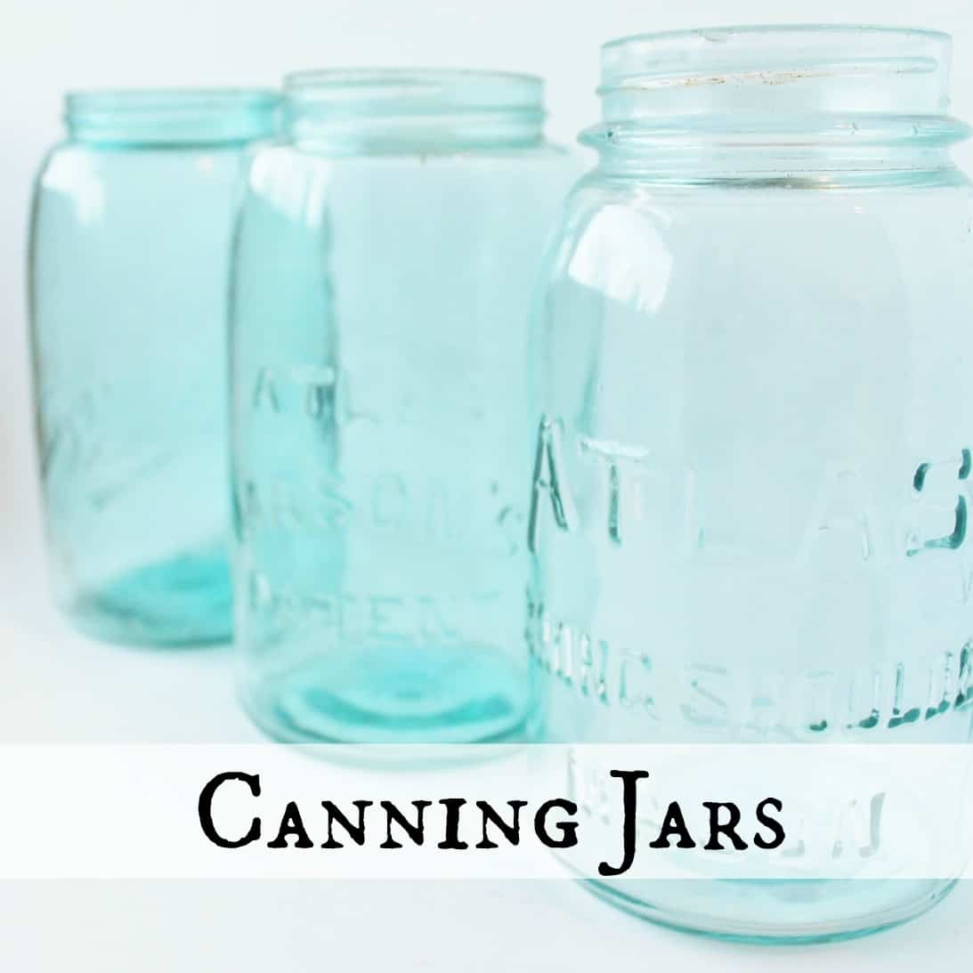 photo of vintage aqua canning jars