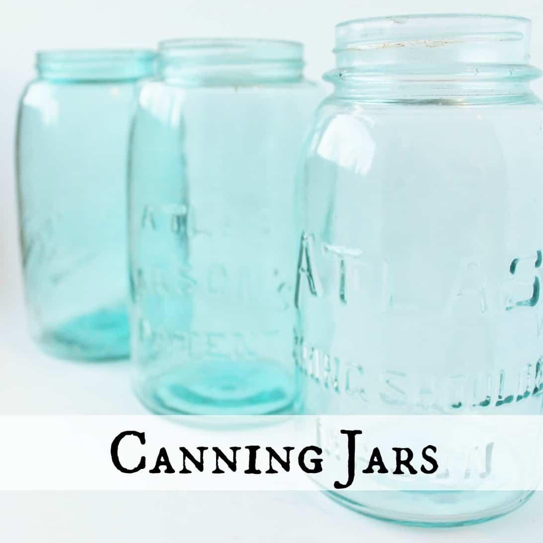 photo of vintage aqua canning jars