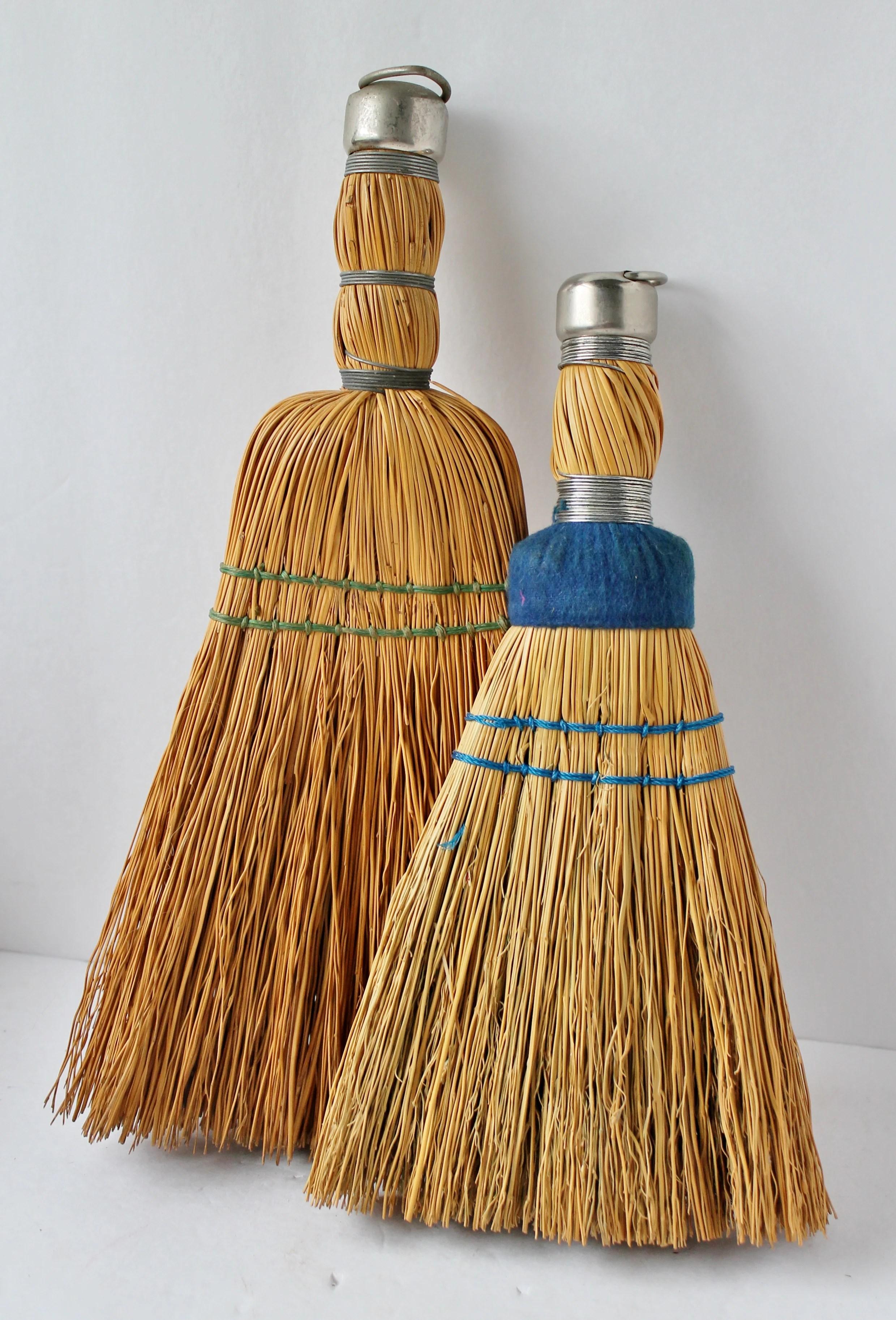 Vintage straw hand brooms