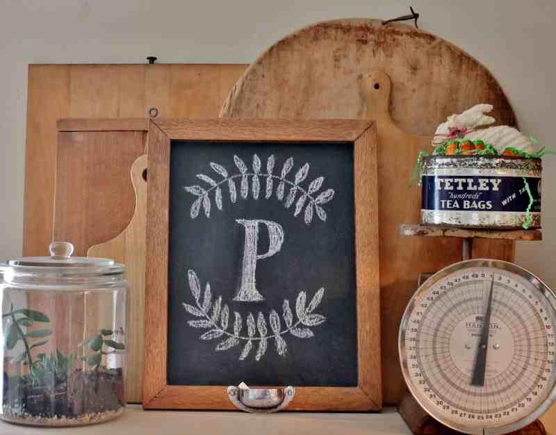 13 Oak framed chalk board