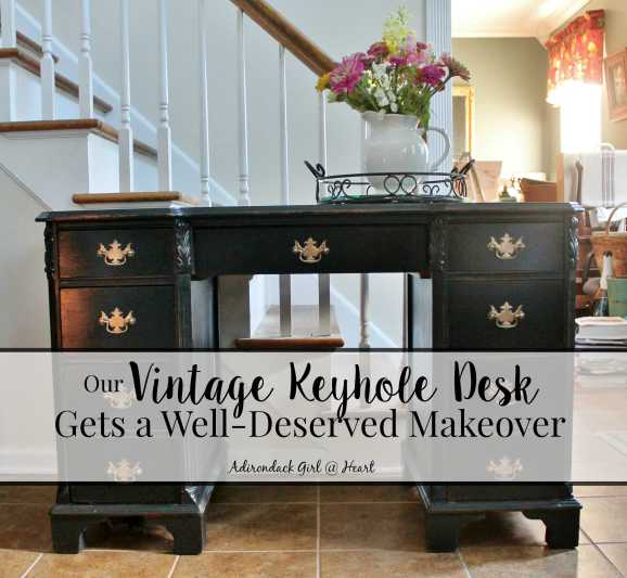 Vintage desk gets a black chalk paint makeover