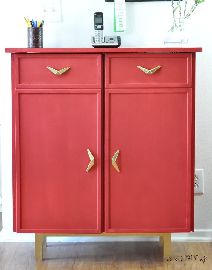 Red cabinet makeover