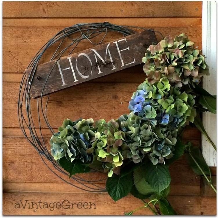 "Hydrangea wreath with ""home' sign"
