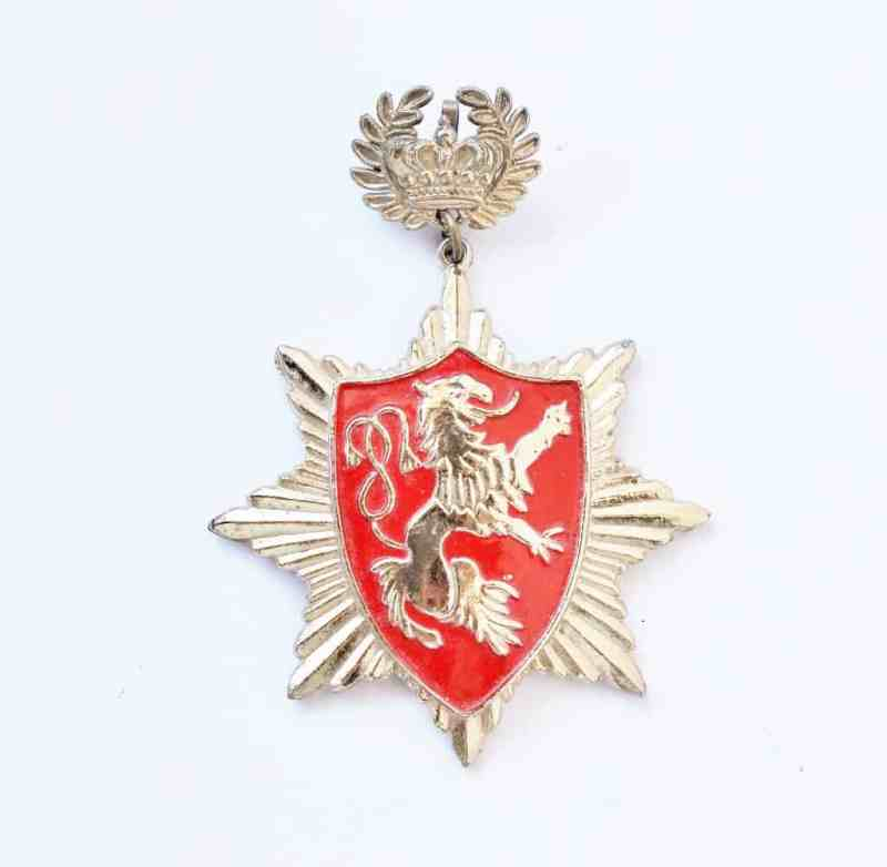 vintage heraldic pin with lion