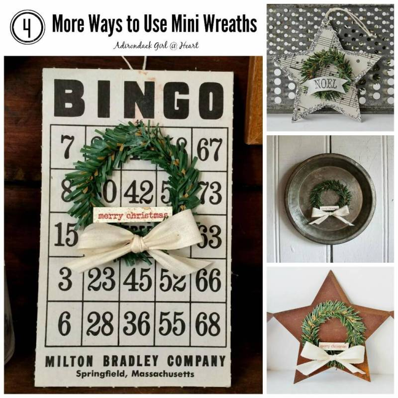 Christmas decorations including vintage bingo card